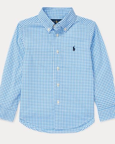 폴로 랄프로렌 Polo Ralph Lauren Gingham Cotton Poplin Shirt,Light Blue Multi