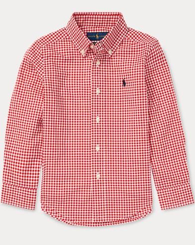 폴로 랄프로렌 Polo Ralph Lauren Gingham Cotton Poplin Shirt,Red Multi