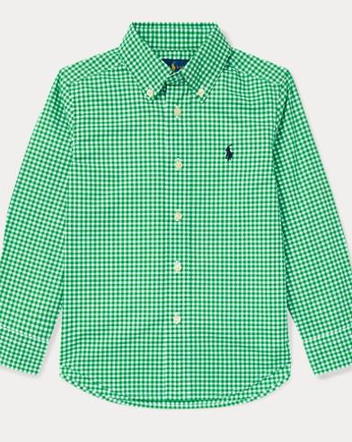 폴로 랄프로렌 Polo Ralph Lauren Gingham Cotton Poplin Shirt,Green Multi