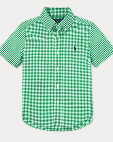 폴로 랄프로렌 Polo Ralph Lauren Gingham Cotton Poplin Shirt,Green Multi