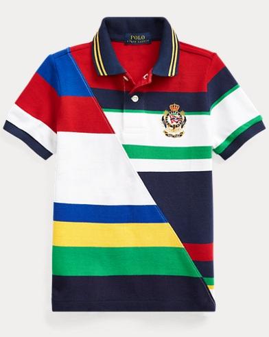 폴로 랄프로렌 남아용 스트라이프 반팔 폴로셔츠 Polo Ralph Lauren Striped Cotton Mesh Polo,White Multi