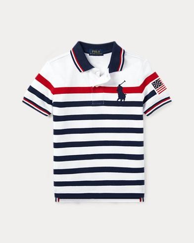 폴로 랄프로렌 남아용 스트라이프 반팔 폴로셔츠 Polo Ralph Lauren Striped Cotton Mesh Polo Shirt,White Multi