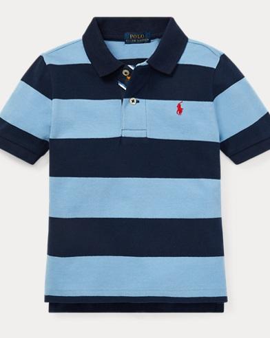 폴로 랄프로렌 남아용 스트라이프 반팔 폴로셔츠 Polo Ralph Lauren Striped Cotton Mesh Polo Shirt,Collin Blue Multi