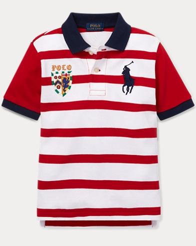 폴로 랄프로렌 남아용 스트라이프 반팔 폴로셔츠 Polo Ralph Lauren Striped Cotton Mesh Polo Shirt,Rl2000 Red Multi