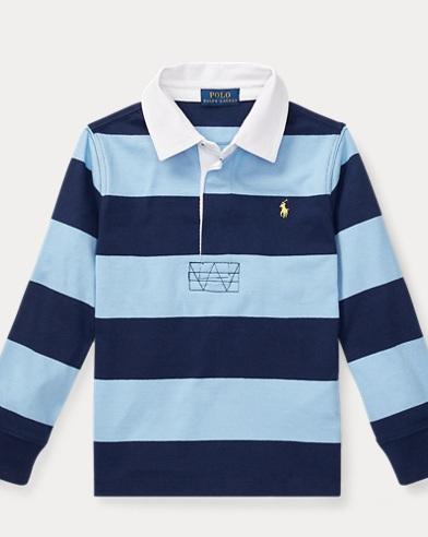 폴로 랄프로렌 남아용 스트라이프 긴팔 럭비셔츠 Polo Ralph Lauren Striped Cotton Rugby Shirt,Collin Blue Multi