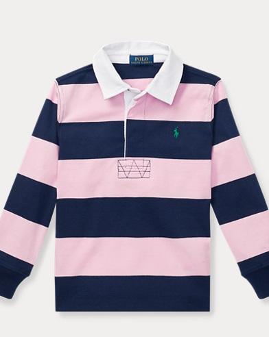폴로 랄프로렌 Polo Ralph Lauren Striped Cotton Rugby Shirt,카멜 Carmel Pink Multi
