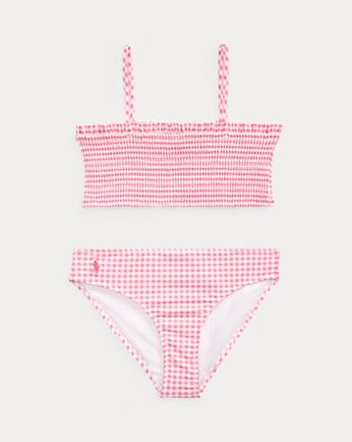 폴로 랄프로렌 Polo Ralph Lauren Gingham Two-Piece Swimsuit,Baja Pink/White