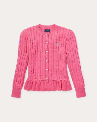 폴로 랄프로렌 Polo Ralph Lauren Cotton Peplum Cardigan,Baja Pink
