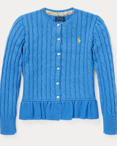폴로 랄프로렌 Polo Ralph Lauren Cotton Peplum Cardigan,Harbor Island Blue