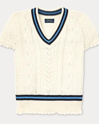 폴로 랄프로렌 Polo Ralph Lauren Cable-Knit Cricket Sweater,Warm White