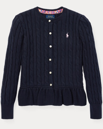 폴로 랄프로렌 Polo Ralph Lauren Cotton Peplum Cardigan,헌터 Hunter Navy