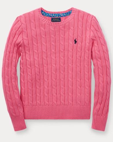 폴로 랄프로렌 Polo Ralph Lauren Cable-Knit Cotton Sweater,Baja Pink