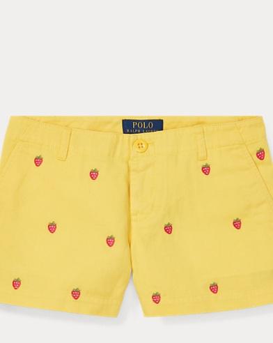 폴로 랄프로렌 걸즈 딸기 자수 반바지, 치노 숏팬츠 - 옐로우 Polo Ralph Lauren Embroidered Chino Short,Signal Yellow