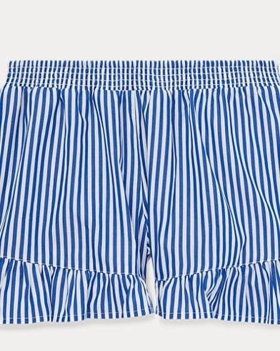 폴로 랄프로렌 Polo Ralph Lauren Striped Ruffled Cotton Short,Active Royal/White