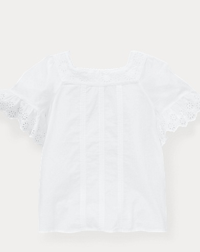 폴로 랄프로렌 Polo Ralph Lauren Cotton Flutter-Sleeve Top,White