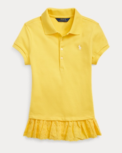 폴로 랄프로렌 Polo Ralph Lauren Eyelet Stretch Mesh Polo,Signal Yellow