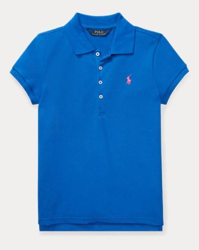 폴로 랄프로렌 걸즈 반팔 폴로 셔츠, 코튼 매쉬 - 아이리스 블루 Polo Ralph Lauren Cotton Mesh Polo Shirt,New Iris Blue