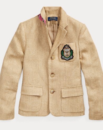 폴로 랄프로렌 걸즈 헤링본 자켓, 블레이저 Polo Ralph Lauren Herringbone Silk-Linen Blazer,Tan/Cream