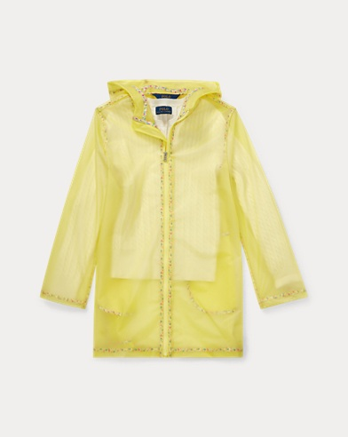 폴로 랄프로렌 걸즈 레인코트 Polo Ralph Lauren Sheer Floral-Trim Raincoat,Yellow