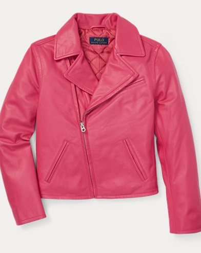 폴로 랄프로렌 걸즈 가죽 자켓 - 핑크 Polo Ralph Lauren Leather Moto Jacket,Ultra Pink