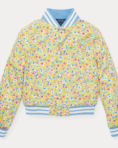 폴로 랄프로렌 걸즈 꽃무늬 야구점퍼 Polo Ralph Lauren Floral Baseball Jacket,Yellow Multi