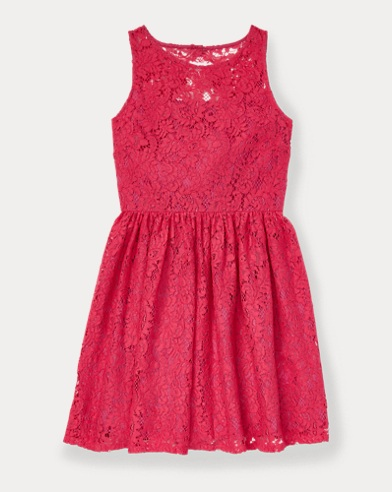 폴로 랄프로렌 Polo Ralph Lauren Lace Fit-and-Flare Dress,Ultra Pink