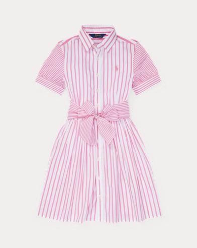 폴로 랄프로렌 Polo Ralph Lauren Striped Cotton Shirtdress,Baja Pink/White