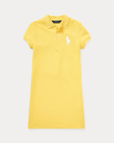 폴로 랄프로렌 Polo Ralph Lauren Big Pony Mesh Polo Dress,Signal Yellow