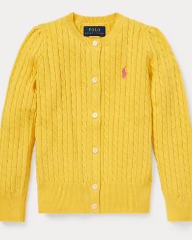 폴로 랄프로렌 Polo Ralph Lauren Cable-Knit Cotton Cardigan,Signal Yellow
