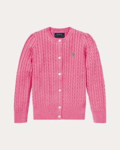 폴로 랄프로렌 Polo Ralph Lauren Cable-Knit Cotton Cardigan,Baja Pink