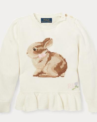 폴로 랄프로렌 Polo Ralph Lauren Intarsia-Knit Bunny Sweater,Trophy Cream
