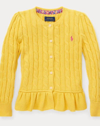 폴로 랄프로렌 여아용 코튼 페플럼 가디건 - 옐로우 Polo Ralph Lauren Cotton Peplum Cardigan,Signal Yellow