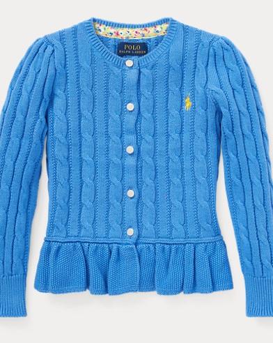 폴로 랄프로렌 Polo Ralph Lauren Cotton Peplum Cardigan,Harbor Island Blue
