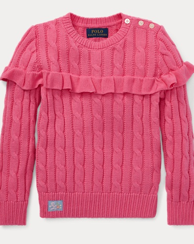 폴로 랄프로렌 Polo Ralph Lauren Ruffled Cotton Sweater,Baja Pink