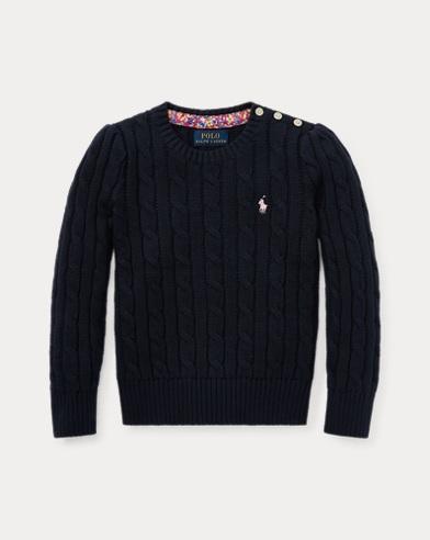 폴로 랄프로렌 Polo Ralph Lauren Cable-Knit Cotton Sweater,헌터 Hunter Navy