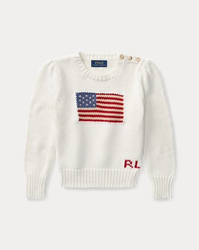 폴로 랄프로렌 여아용 스웨터 Polo Ralph Lauren Flag Cotton Crewneck Sweater,Chic Cream