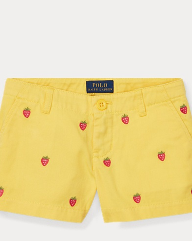 폴로 랄프로렌 여아용 반바지 Polo Ralph Lauren Embroidered Chino Short,Signal Yellow