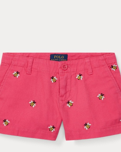 폴로 랄프로렌 여아용 반바지 Polo Ralph Lauren Embroidered Chino Short,Ultra Pink