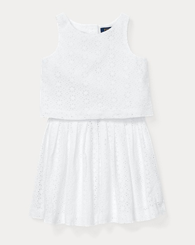 폴로 랄프로렌 Polo Ralph Lauren Eyelet Top & Skirt Set,White