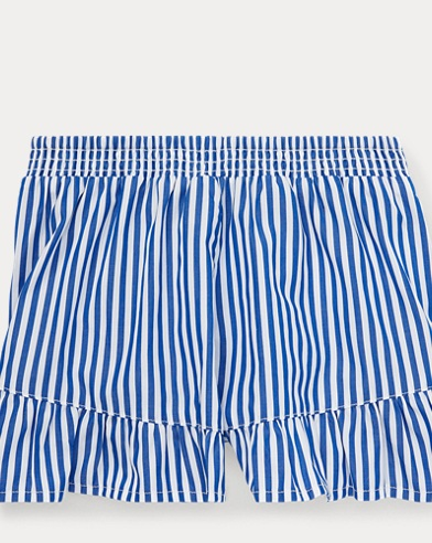 폴로 랄프로렌 Polo Ralph Lauren Striped Ruffled Cotton Short,Active Royal/White