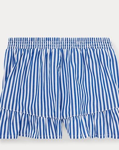 폴로 랄프로렌 여아용 반바지 Polo Ralph Lauren Striped Ruffled Cotton Short,Active Royal/White