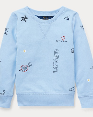 폴로 랄프로렌 Polo Ralph Lauren Print Atlantic Terry Pullover,Elite Blue