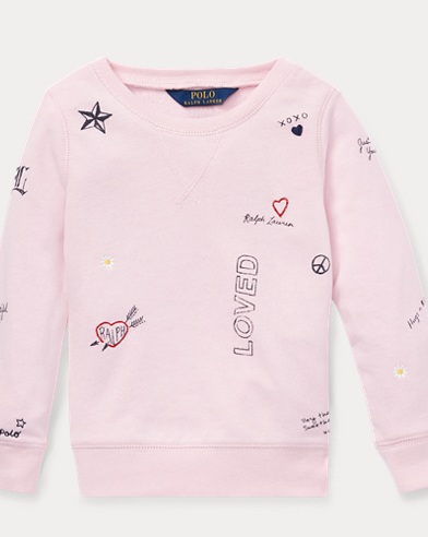 폴로 랄프로렌 Polo Ralph Lauren Print Atlantic Terry Pullover,Hint Of Pink