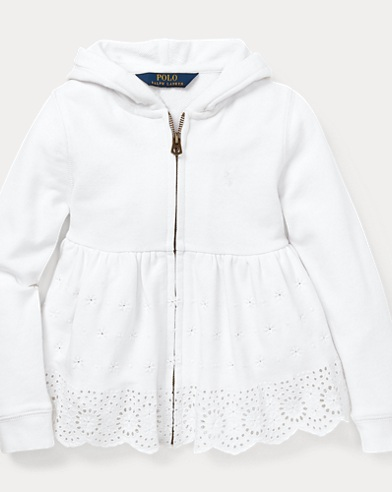 폴로 랄프로렌 Polo Ralph Lauren Eyelet Cotton Hoodie,White