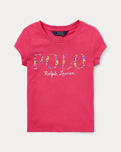 폴로 랄프로렌 Polo Ralph Lauren Floral Polo Jersey T-Shirt,Ultra Pink