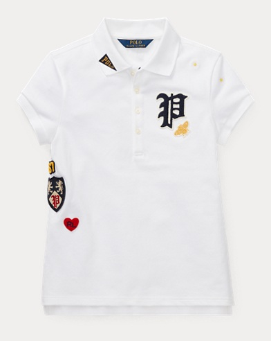 폴로 랄프로렌 Polo Ralph Lauren Patchwork Stretch Pique Polo,White