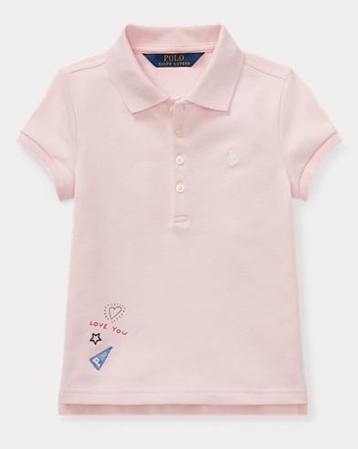 폴로 랄프로렌 Polo Ralph Lauren Patchwork Stretch Pique Polo,Hint Of Pink