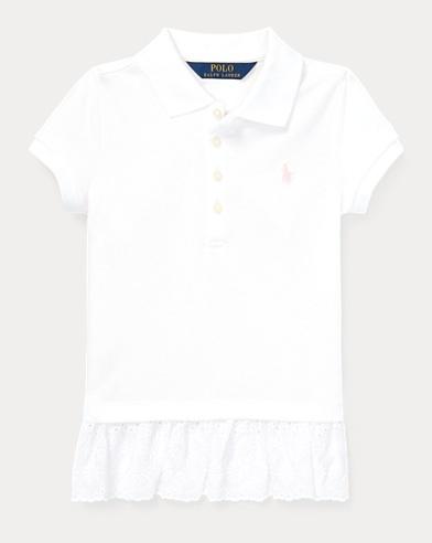 폴로 랄프로렌 여아용 폴로셔츠 Polo Ralph Lauren Eyelet Stretch Mesh Polo,White