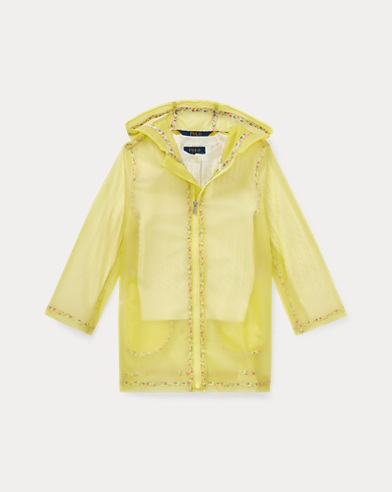 폴로 랄프로렌 Polo Ralph Lauren Sheer Floral-Trim Raincoat,Yellow