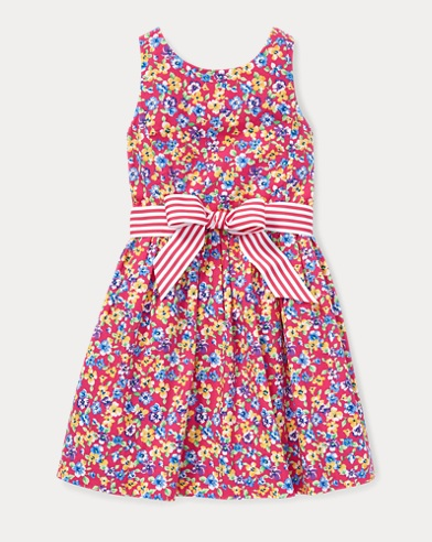폴로 랄프로렌 Polo Ralph Lauren Floral Fit-and-Flare Dress,Pink